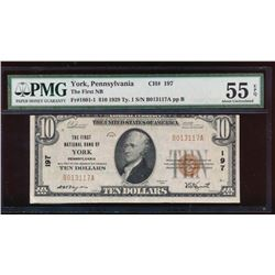 1929 $10 York National Bank Note PMG 55EPQ