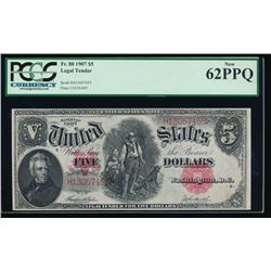 1907 $5 Legal Tender Note PCGS 62PPQ