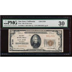 1929 $20 San Jose National Bank Note PMG 30