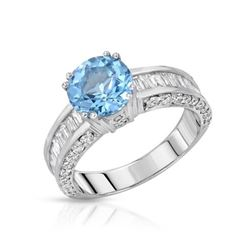 14KT White Gold 2.24ct Blue Topaz and Diamond Ring