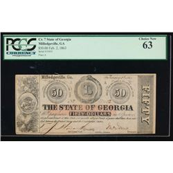 1862 $50 State of Georgia Obsolete Note PCGS 63