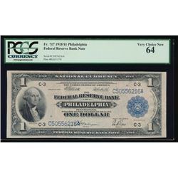 1918 $1 Philadelphia Federal Reserve Bank Note PCGS 64