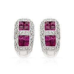 18KT White Gold 1.49ctw Ruby and Diamond Earrings