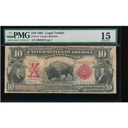 1901 $10 Bison Legal Tender Note PMG 15