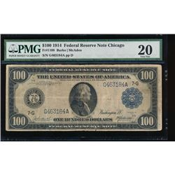 1914 $100 Chicago Federal Reserve Note PMG 20