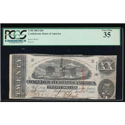 1863 $20 Confederate States of America Note PCGS 35