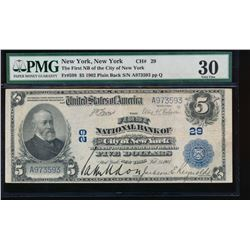 1902 $5 New York National Bank Note PMG 30