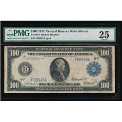 1914 $100 Atlanta Federal Reserve Note PMG 25