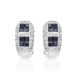 18KT White Gold 1.39ctw Blue Sapphire and Diamond Earrings