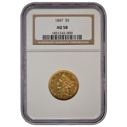 1847 $5 Liberty Head Half Eagle Gold Coin NGC AU58
