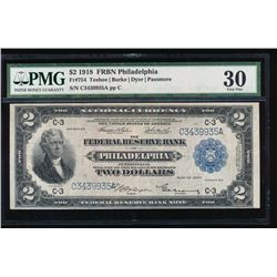 1918 $2 Philadelphia Federal Reserve Bank Note PMG 30