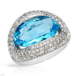 14KT White Gold 8.58ct Blue Topaz and Diamond Ring
