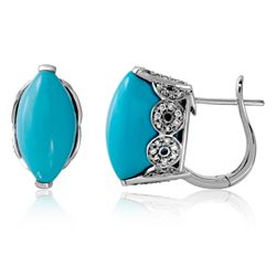14KT White Gold 13.48ctw Turquoise and Diamond Earrings