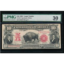 1901 $10 Bison Legal Tender Note PMG 30