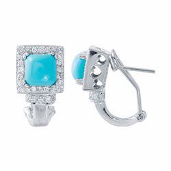 14KT White Gold 2.13ctw Turquoise and Diamond Earrings