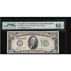1934C $10 Minneapolis Federal Reserve Note PMG 65EPQ