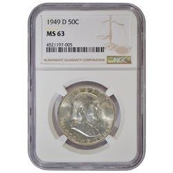 1949-D Franklin Half Dollar Coin NGC MS63