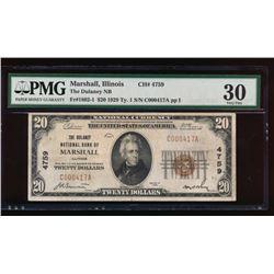 1929 $20 Marshall National Bank Note PMG 30