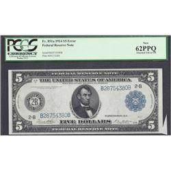 Error 1914 $5 Federal Reserve Note PCGS 62PPQ
