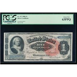 1886 $1 Martha Washington Silver Certificate PCGS 63PPQ