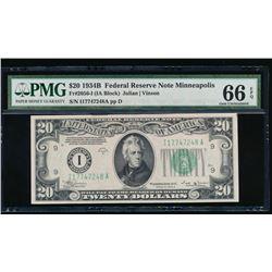 1934B $20 Minneapolis Federal Reserve Note PMG 66EPQ