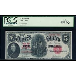 1907 $5 Legal Tender Note PCGS 65PPQ