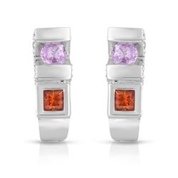 14KT White Gold 0.78ctw Multi Color Sapphire and Diamond Earrings