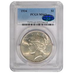 1934 $1 Peace Silver Dollar Coin PCGS MS63 CAC