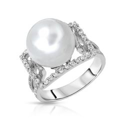 14KT White Gold 11.09ct Pearl and Diamond Ring