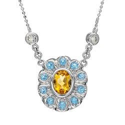 14KT White Gold Citrine, Blue Topaz and Diamond Pendant with Chain