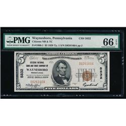 1929 $5 Waynesboro National Note PMG 66EPQ