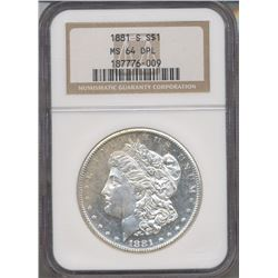 1881-S $1 Morgan Silver Dollar Coin NGC MS64DPL