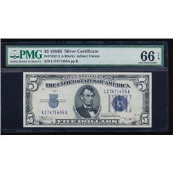 1934B $5 Silver Certificate PMG 66EPQ