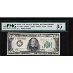 1928 $500 Philadelphia Federal Reserve Note PMG 35