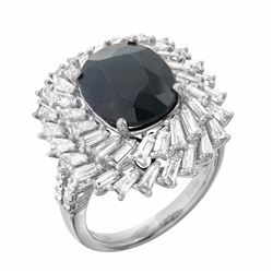 18KT White Gold 5.95ct Sapphire and Diamond Ring