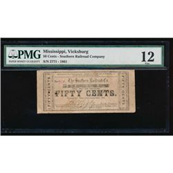 50 Cent 1861 Southern Railroad Obsolete Note PMG 12