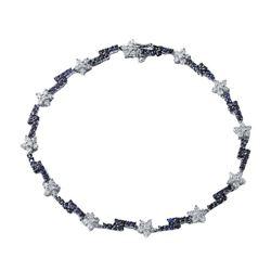 14KT White Gold 1.45ctw Blue Sapphire and Diamond Bracelet