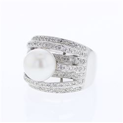 18KT White Gold 6.53ct Pearl and Diamond Ring