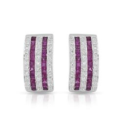 18KT White Gold 2.14ctw Ruby and Diamond Earrings