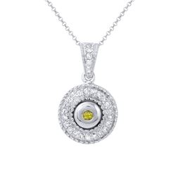 14KT White Gold Yellow Sapphire and Diamond Pendant with Chain