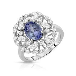14KT White Gold 1.70ctw Tanzanite and Diamond Ring