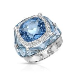 14KT White Gold 16.24ctw Blue Topaz and Diamond Ring