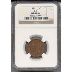 1851 Liberty Half Cent Coin NGC MS63BN