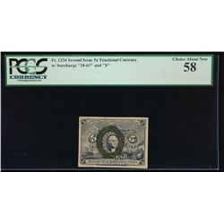 5 Cent Fractional Currency Note PCGS 58