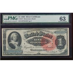 1886 $1 Martha Washington Silver Certificate PMG 63