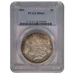 1881 $1 Morgan Silver Dollar Coin PCGS MS63