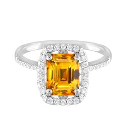 14KT White Gold 3.79ct Citrine and Diamond Ring