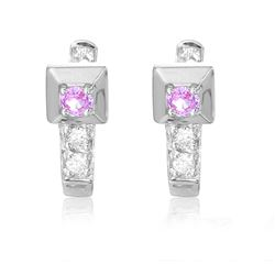 18KT White Gold 0.33ctw Pink Sapphire and Diamond Earrings