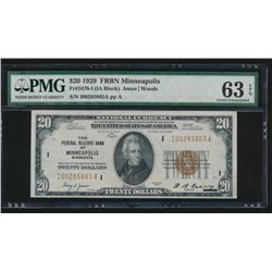 1929 $20 Minneapolis Federal Reserve Bank Note PMG 63EPQ