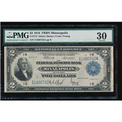 1918 $2 Minneapolis Federal Reserve Bank Note PMG 30